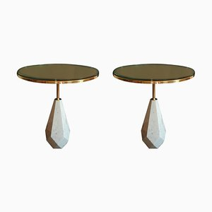 Round Italian White Carrara Marble and Brass Side Tables, 1980s, Set of 2