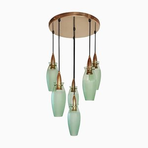 Mid-Century Italian Brass & Glass Chandelier