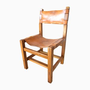 French Leather and Elm Dining Chairs from Maison Regain, 1960s, Set of 4