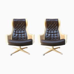 Space Age Italian Aluminum and Leather Lounge Chairs, 1970s, Set of 2