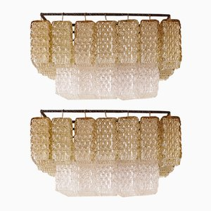 Italian Modern Colored Glass Chandeliers, 1950s, Set of 2