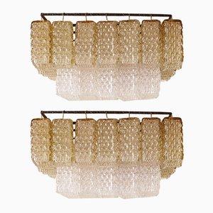 Lámparas de araña italianas modernas de vidrio coloreado, años 50. Juego de 2
