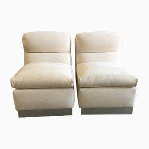 Italienische moderne Stühle aus Aluminium und Stoff, 1970er, 2er Set