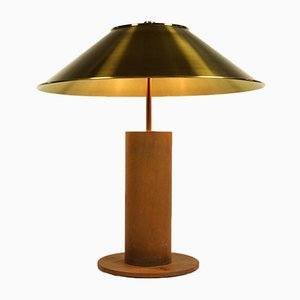 German Brass and Corten Steel Table Lamp by Peter Preller for Tecta, 1980s
