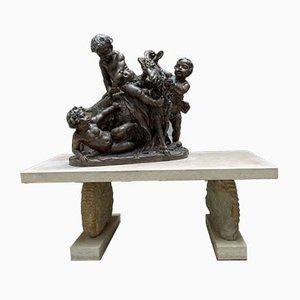Sculpture et Table Napoléon III Antique en Terracotta de Clodion, France