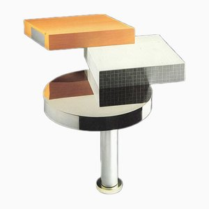 Consola italiana postmoderna de aluminio, vidrio y madera de James Irvine para Memphis, 1986