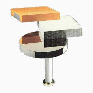Consolle postmoderna in alluminio, vetro e legno di James Irvine per Memphis, 1986, Italia