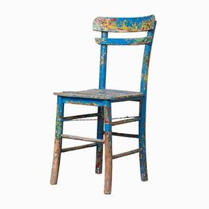 Vintage Rustic Paint Splashed Wooden Chair