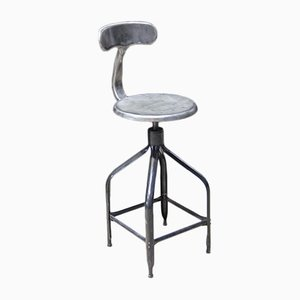 Industrial French Metal Stool or Architect's Chairs from Nicolle, 1950s, Set of 4