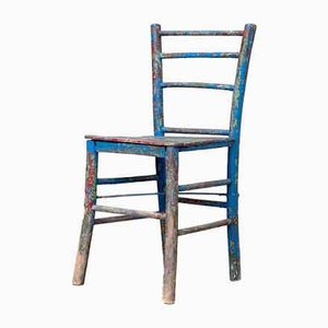 Vintage Rustic Painted Wooden Chair