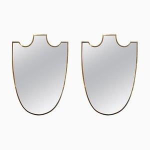 Italienische Mid-Century Spiegel mit Messingschirmen, 2er Set