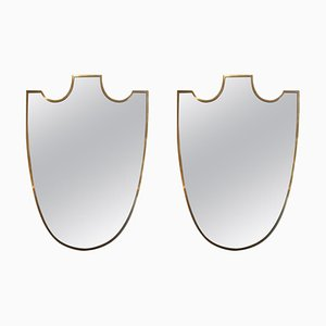 Mid-Century Italian Brass Shield Mirrors, Set of 2