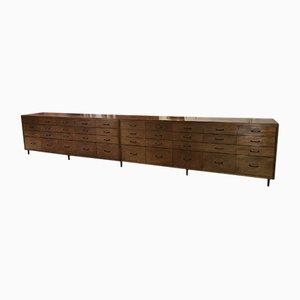 Industrielles französisches Mid-Century Sideboard aus Holz, 1950er, Set von