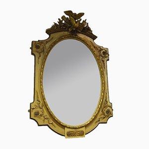 Antiker französischer geschnitzter ovaler Spiegel