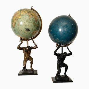 Antique Globes with Figures from Columbus Verlag, Set of 2