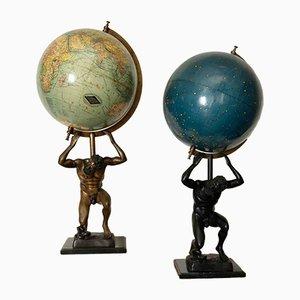 Mappamondi antichi con basi scultoree di Columbus Verlag, set di 2