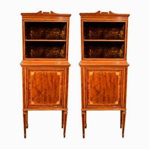 Edwardian Mahogany Fiddleback Inlaid Cabinets from Maple & Co., Set of 2