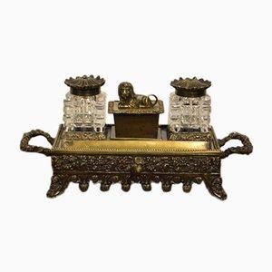 Juego de mesa victoriano de bronce y vidrio