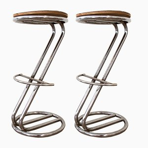 Art Deco Italian Tubular Steel Stools, 1930s, Set of 2