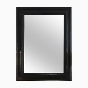 Large Flemish Ebonised Carved Wood Framed Mirror, 1920s