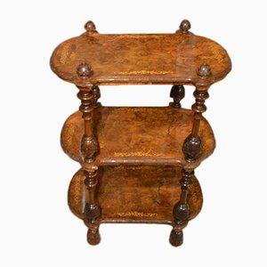 Victorian Burr Walnut & Marquetry Inlaid 3-Tier Etagere