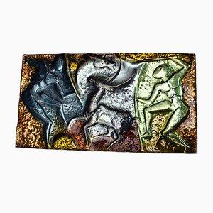 Panel de cobre esmaltado de Franco Bastianelli para Laurana Arte Pesaro, años 60