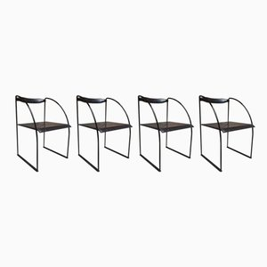 Iron and Leather Patoz Dining Chairs by Francesco Soro for ICF, 1970s, Set of 4
