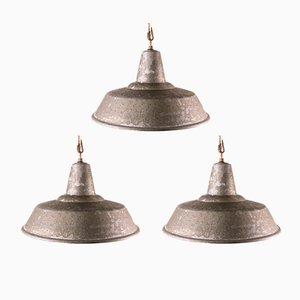 Industrial Italian Cast Iron Ceiling Lamps, 1930s, Set of 3