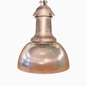 Lampada da soffitto industriale in ghisa e vetro, Italia, anni '30
