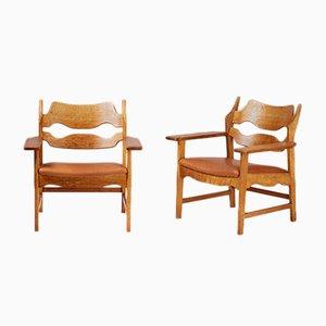 Dänische Stühle aus Eichenholz in Rasierklingen-Optik von Henning Kjaernulf für Nyrup Møbelfabrik, 1960er, 2er Set