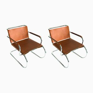 German Leather and Tubular Steel Lounge Chairs by Franco Albini for Tecta, 1980s, Set of 2