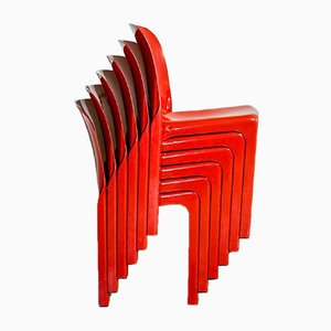 Selene Stacking Chairs by Vico Magistretti for Artemide, 1980s, Set of 6
