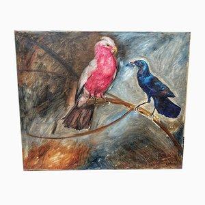 Peinture à l'Huile Oiseaux par Manuel De Azpiroz, 1920s