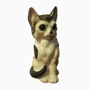 Vintage Porcelain Cat Table Lamp, 1940s