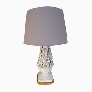 Vintage Manises Ceramic Floral Table Lamp, 1960s