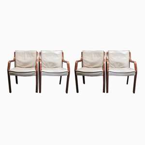 Antimott Cow Leather and Palisander Lounge Chairs from Knoll, 1960s, Set of 4