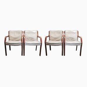 Antimott Sessel aus Kuhleder & Palisander von Knoll, 1960er, 4er Set