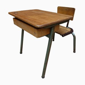 Industrial French Oak and Steel School Bench, 1960s