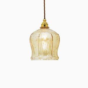 Lampada in vetro ambrato, anni '70