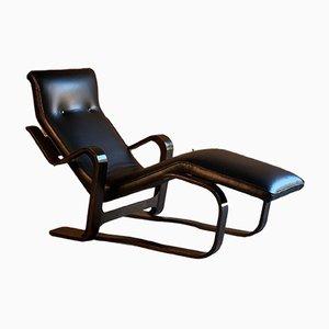 Chaise longue in betulla e pelle di Marcel Breuer per Isokon, anni '70