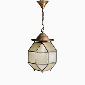 Art Deco Brass and Glass Lantern Lamp, 1930s