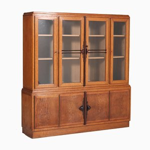 Art Deco Amsterdam School Oak Display Bookcase Cabinet, 1920s