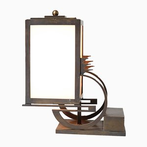 Lampe de Bureau École de la Haye Art Déco en Bronze et Verre Laiteux par C.J. Gellings, 1920s