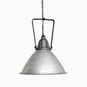 Large Industrial Aluminum Ceiling Lamp from Svetlina AD, 1950s