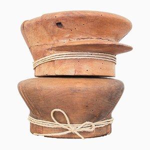 Moldes para sombrero italianos antiguos de madera. Juego de 2