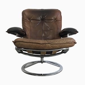 Dutch Mid-Century Chrome Plating and Leather Lounge Chair from Leolux, 1970s