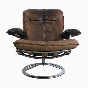 Niederländischer Mid-Century Sessel mit Sitz aus Leder & verchromtem Metallgestell von Leolux, 1970er