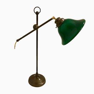 Lampe de Bureau en Bronze et Verre Opalin, Italie, 1950s