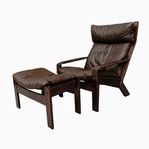Norwegian Brown Leather & Wood Lounge Chair & Ottoman from Westnofa, 1960s