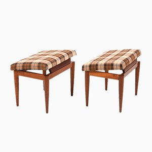 Mid-Century Danish Fabric and Teak Stools, 1960s, Set of 2
